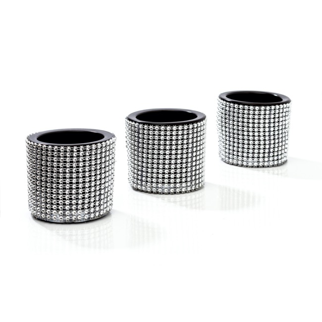 Candle Holders - Glass Candle Votive Holder Diamante (6.5Dx6cmH) Set 3