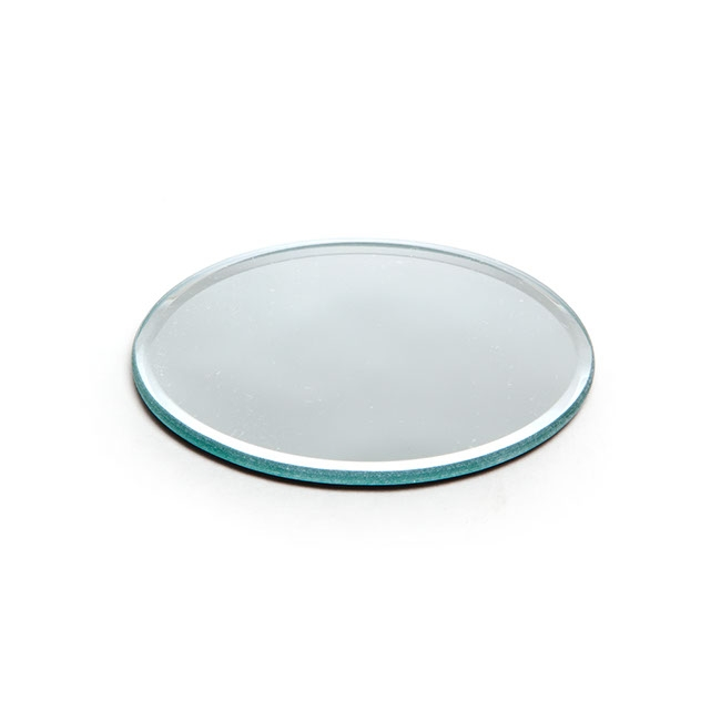 Round Mirror Candle Plate with Bevelled Edge (15cm)