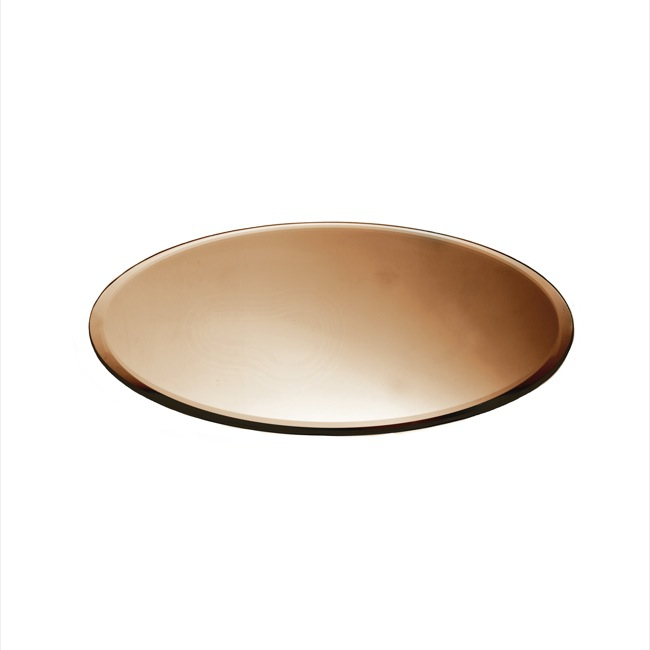 Candle Plates & Mirrors - Round Mirror Candle Plate Bevelled Edge Copper (30cm/12