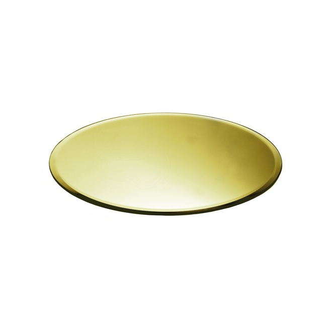 Round Mirror Candle Plate with Bevelled Edge Gold (30cm/12