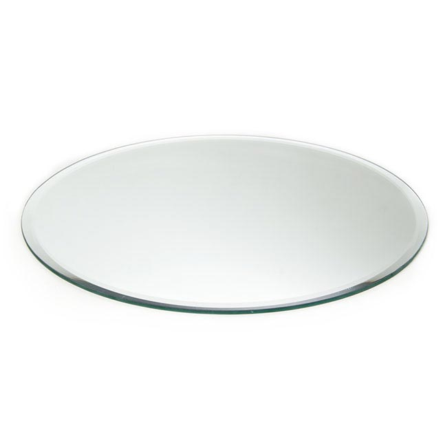 Candle Plates & Mirrors - Round Mirror Candle Plate with Bevelled Edge (40cm/16