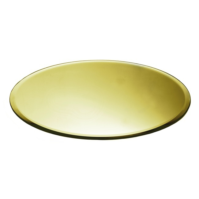 Round Mirror Candle Plate with Bevelled Edge Gold (40cm/16