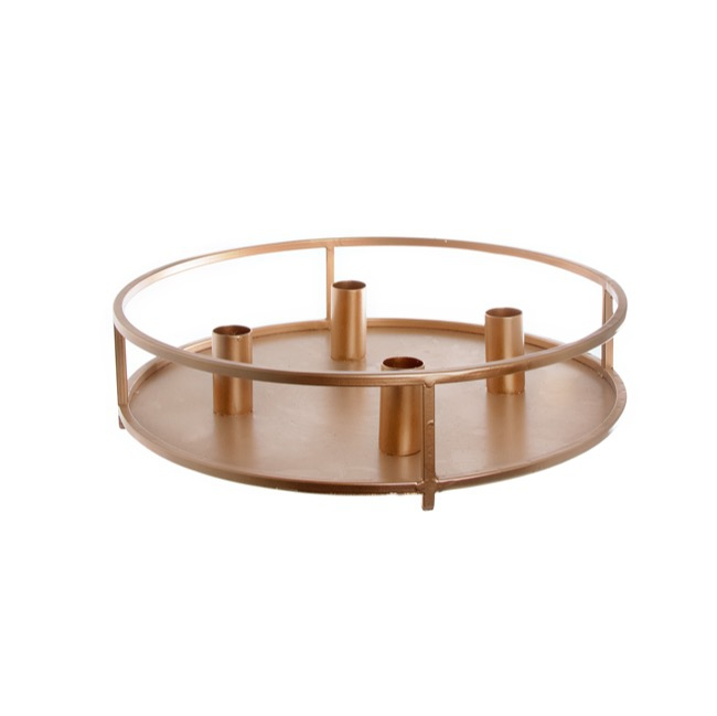 Metal Dinner Candle Holder Round Copper (32x8cmH)