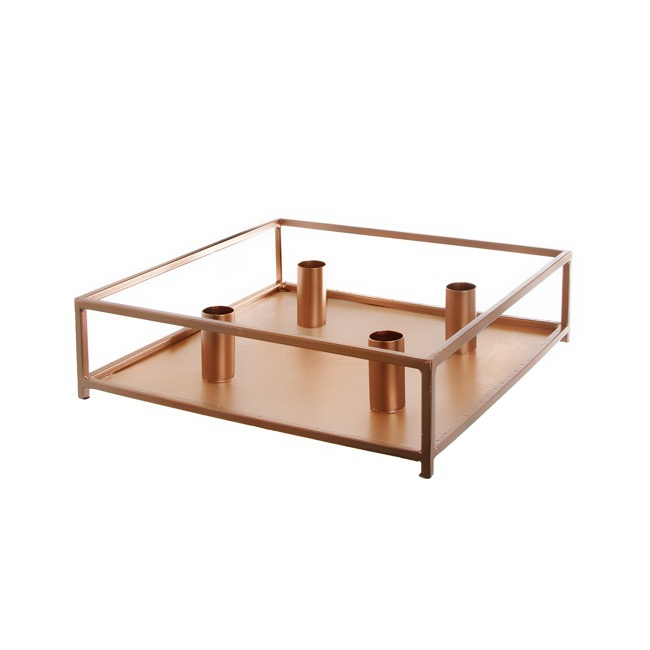 Metal Dinner Candle Holder Square Copper (28x8cmH)