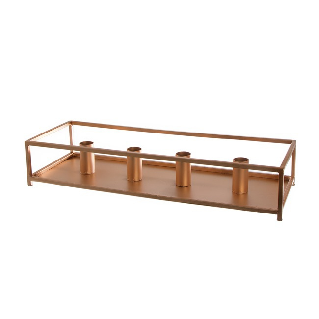 Metal Dinner Candle Holder Rectangle Copper (42x15x8cmH)