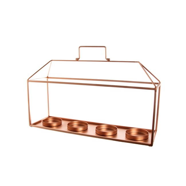 Metal Lantern Candle Holder with Handle Copper (47x14x30cmH)