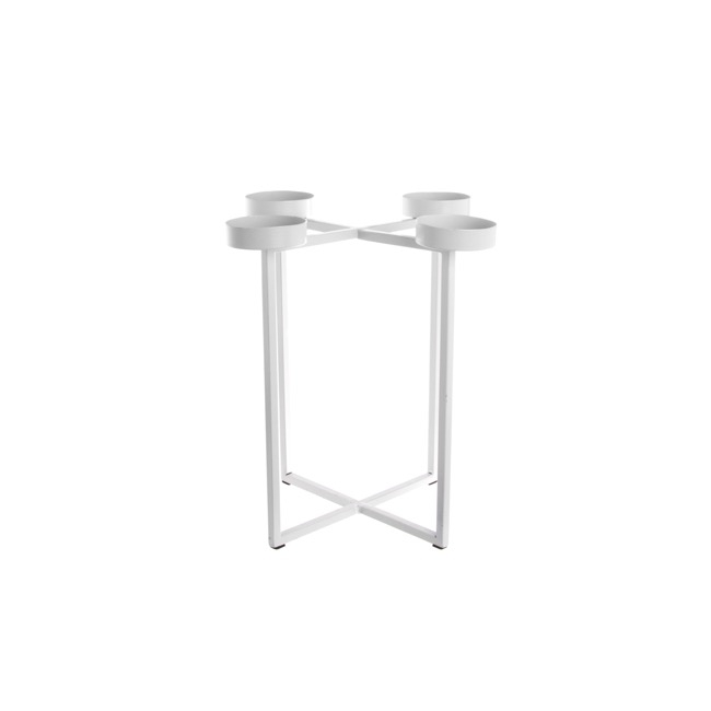Metal Candelabra Criss Cross White (25x25x26.5cmH)