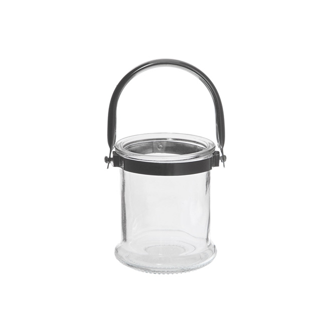 Cylinder Glass Lantern with Chrome Handle Clear (8.5x10cmH)