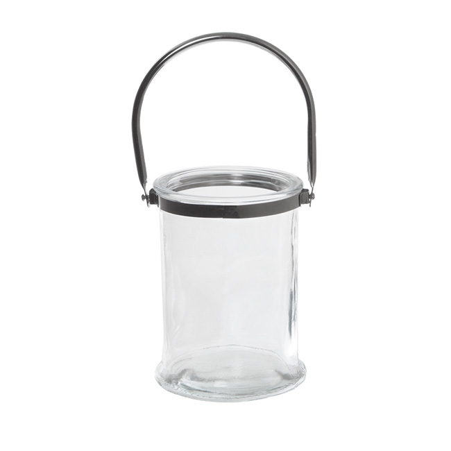 Cylinder Glass Lantern with Chrome Handle Clear (13x17cmH)