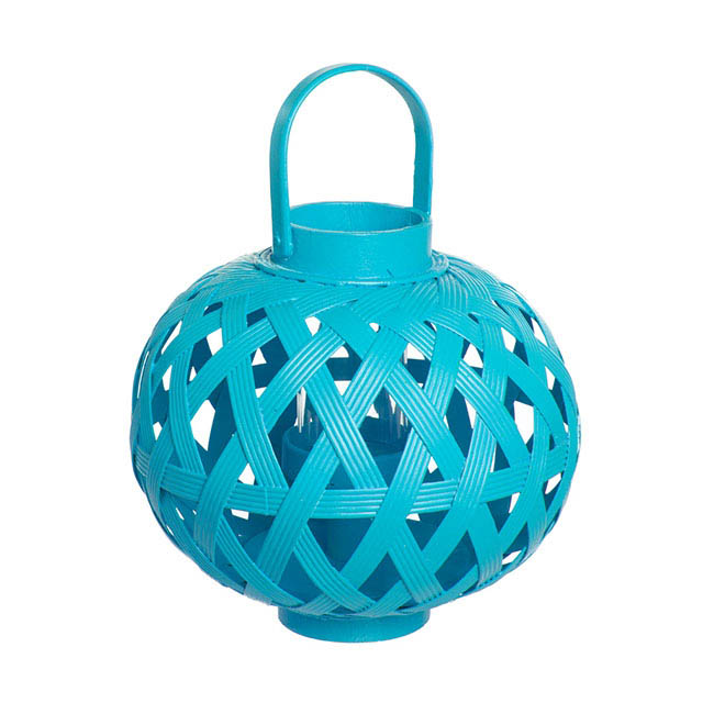 Bamboo Lantern with Glass Holder Aqua (24x28cmH)