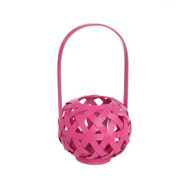 Tall Bamboo Lantern with Glass Holder Hot Pink (17x30cmH)