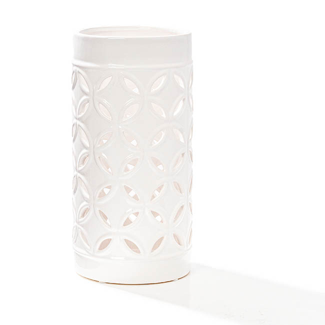 Candle Holders - Ceramic Candle Holder Moroccan Design White (13x25cmH)