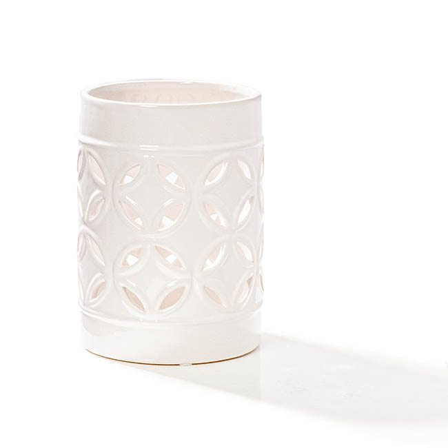Candle Holders - Ceramic Candle Holder Moroccan Design White (13x18cmH)