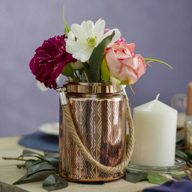 Recycled Style & Coloured Vases - Mercury Glass Vase with Rope Handle Copper (10cmDx15cmH)