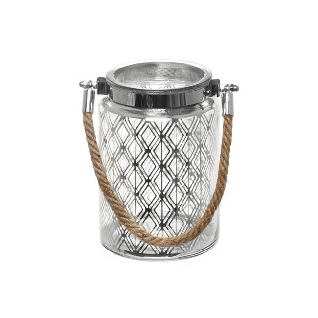 Mercury Glass Lantern with Rope Handle Silver (10cmDx15cmH)