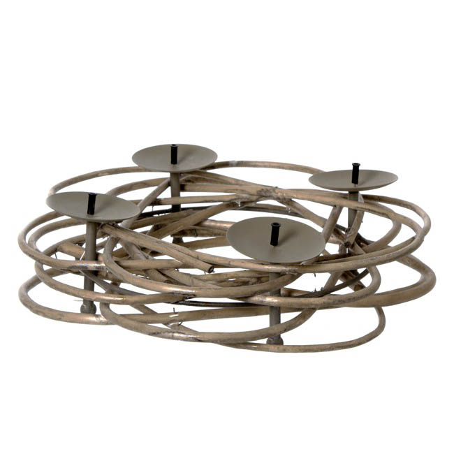 Willow Wreath Candle Holder Natural (35Dx10cmH)