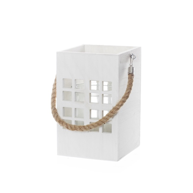 Wooden Lantern with Rope Handle White (14.5x14.5x23cmH)