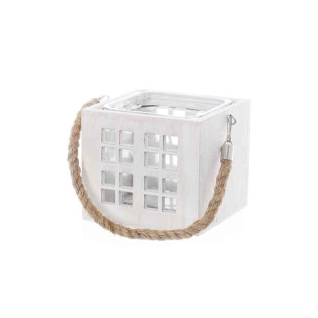 Wooden Lantern with Rope Handle White (14x14x12.5cmH)