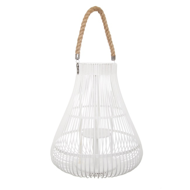 Lanterns & Hanging Candle Holders - Cane Woven Contempory Lantern White Large (34cmDx34cmH)