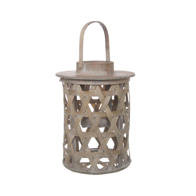 Coastal Chic Cylinder Wood Lantern Natural (22cmDx22cmH)