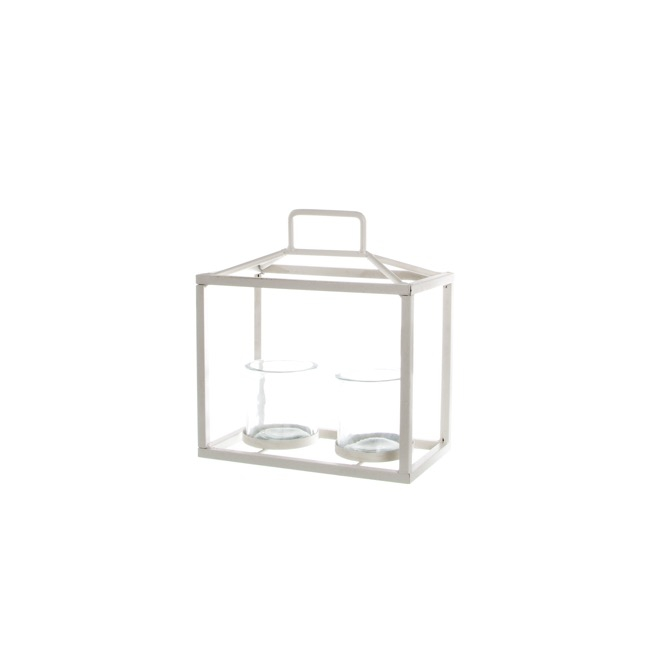 Galaxy Lantern 2 Glass Votives White (15x9x20cmH)