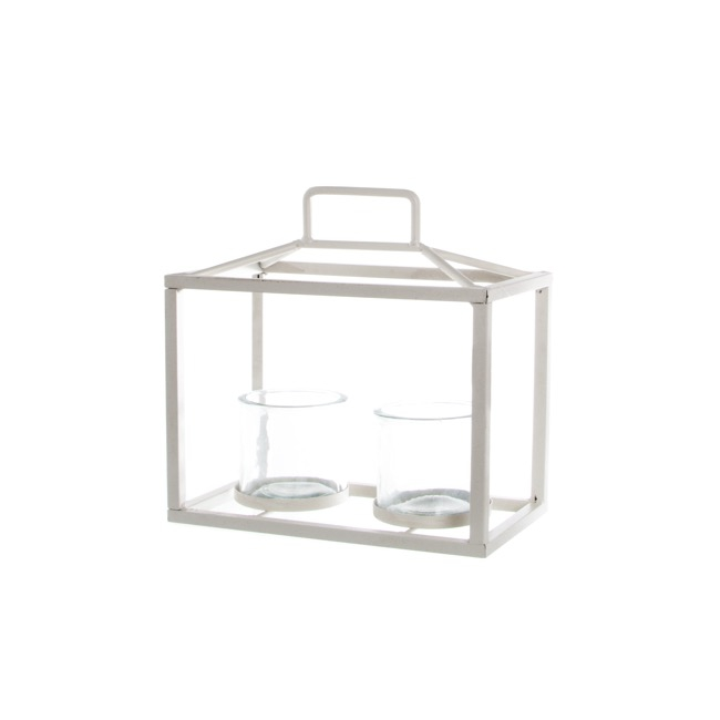 Galaxy Lantern 2 Glass Candle Holders White (23x13x27cmH)