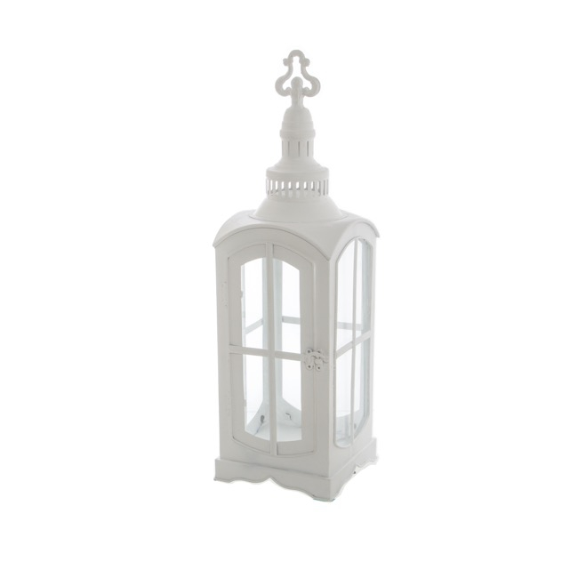 Lanterns & Hanging Candle Holders - Metal Lantern Telephone Booth White (17.5x17.5x56cmH)