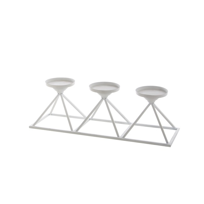 Candle Holders - Metal Candle Holder Pyramid White (49x16x15cmH)