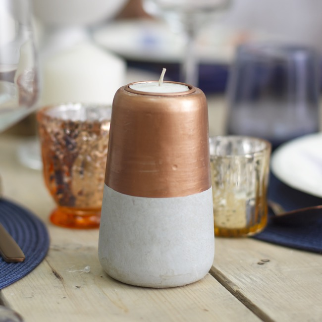 Candle Holders - Tealight Holder Grey with Copper (7.5x12cmH)