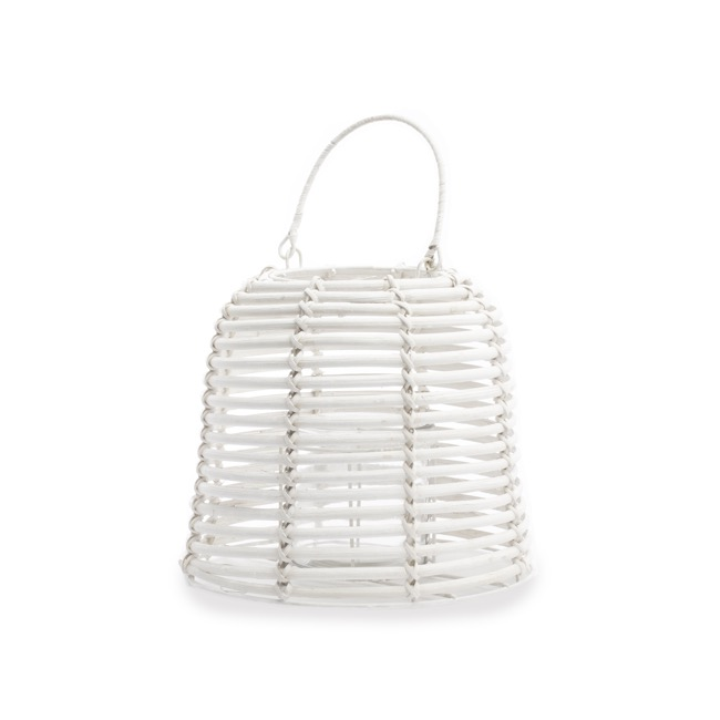 Lanterns & Hanging Candle Holders - Rattan Round Cylinder Lantern Washed White (24cmx20cmH)
