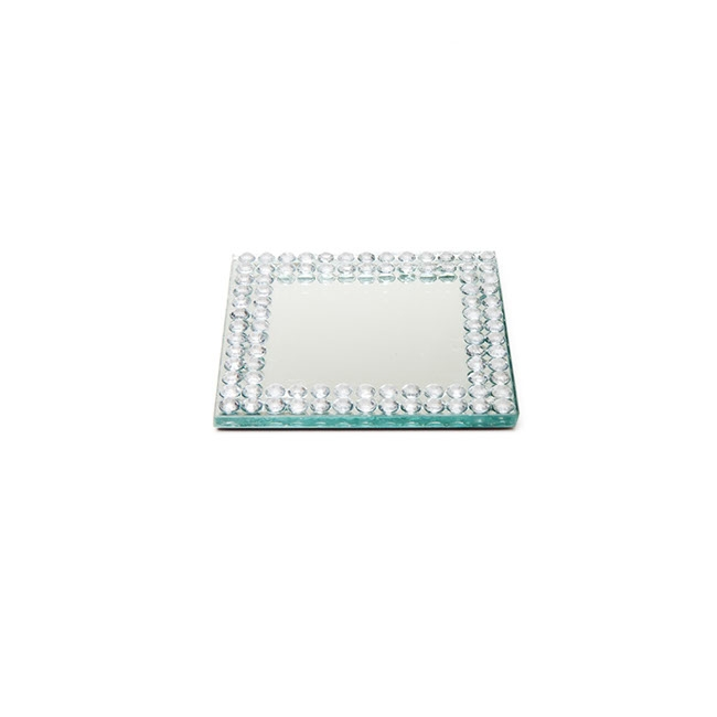 Flat Square Mirror Plate with Diamond Edge (9cm/3.5