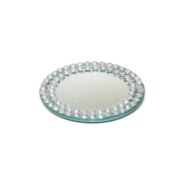 Flat Round Mirror Plate with Diamond Edge (10cm/3.5\