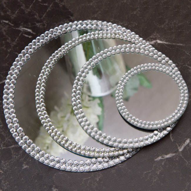 Candle Plates & Mirrors - Flat Round Mirror Plate with Diamond Edge (13cm/5