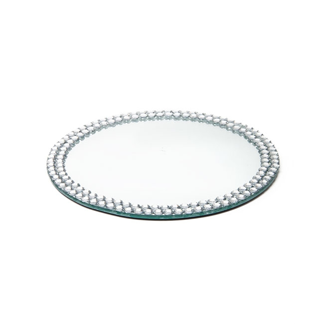 Candle Plates & Mirrors - Flat Round Mirror Plate with Diamond Edge 20cm (8