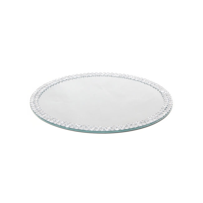 Flat Round Mirror Plate with Diamond Edge (26cm/10