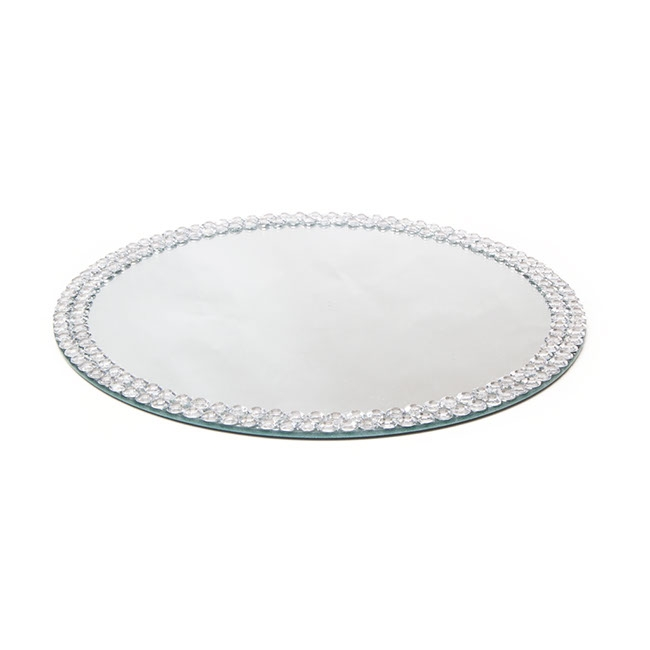 Candle Plates & Mirrors - Flat Round Mirror Plate with Diamond Edge (30cm/12