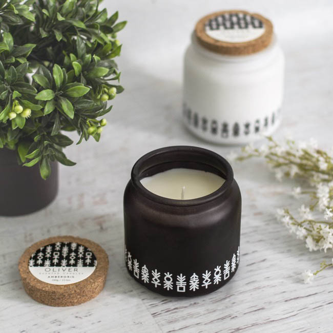 Scented Candle Jars & Containers - Scented Candle Oliver White Ambergris (10x10cmH)