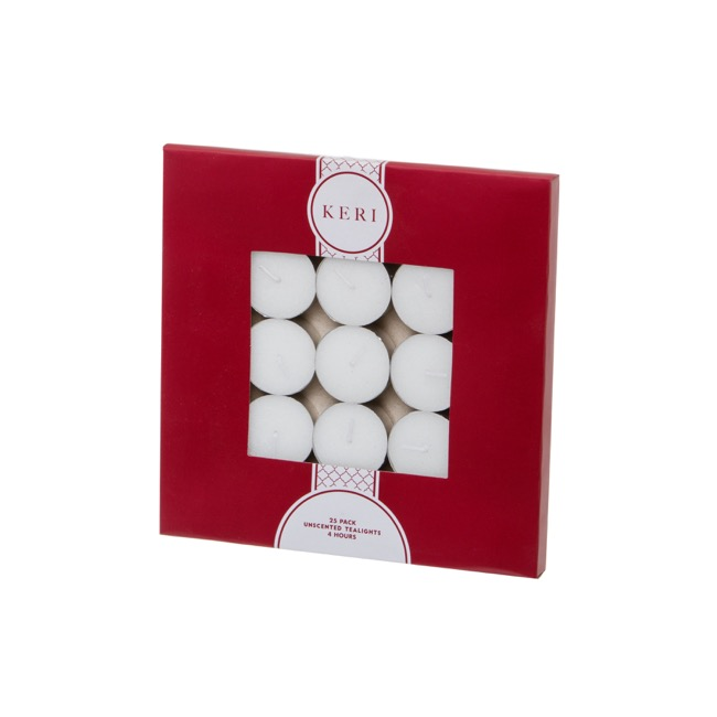 Tealight Candle 4Hr 25 Pack White
