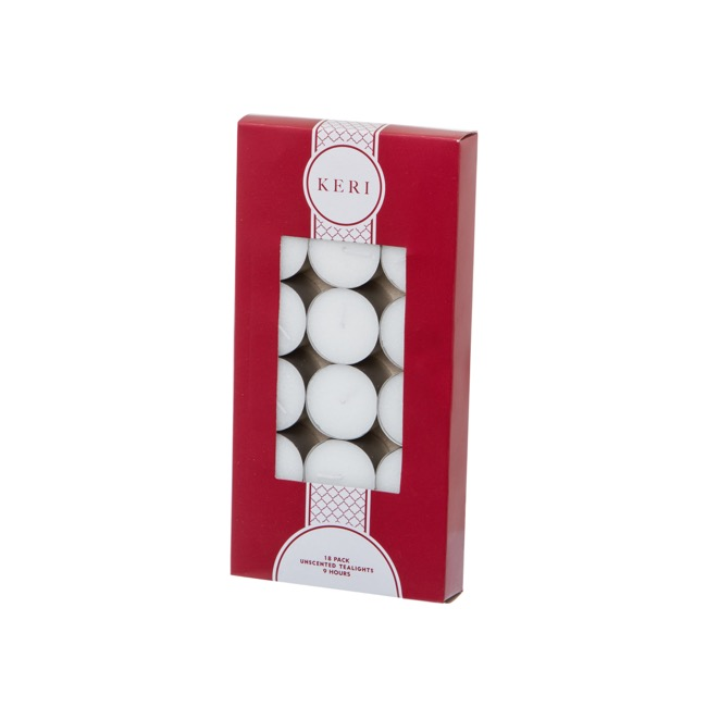 Tealight Candle 9Hr 18 Pack White