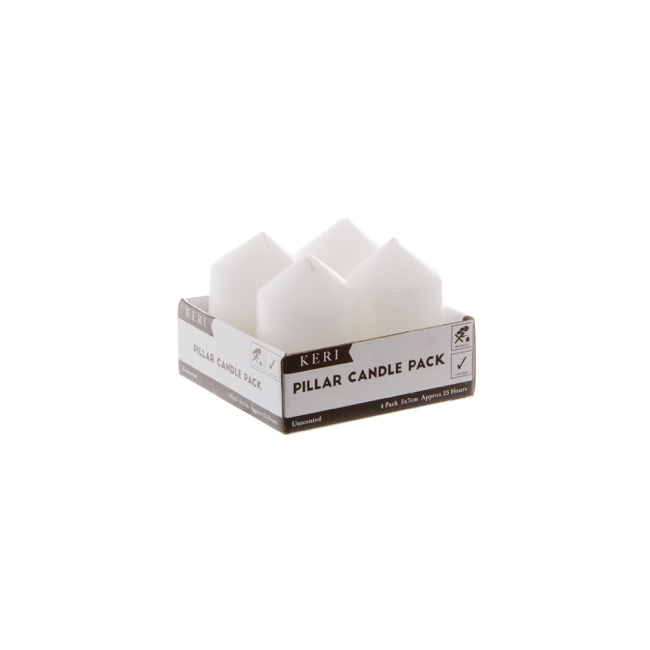 Church Candle Dome Pillar White 4 Pack 25 Hours (5x7.5cmH)