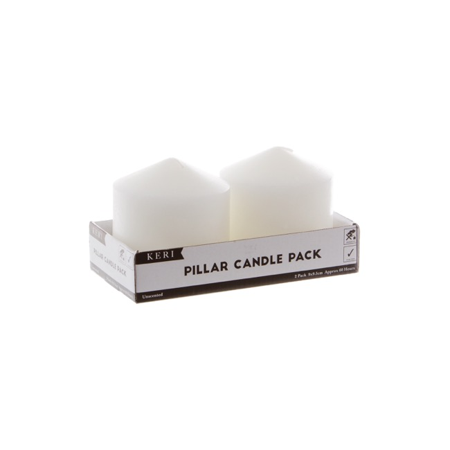 Church Candle Dome Pillar White 2 Pack 60 Hours (9x9.5cmH)
