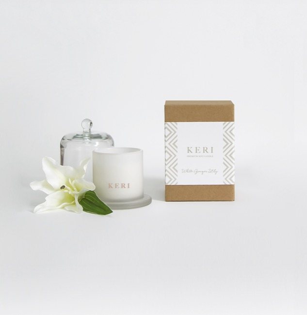 Keri Limited Soy Candles - White Ginger Lily Keri Soy Candle Ellie Cloche 115g