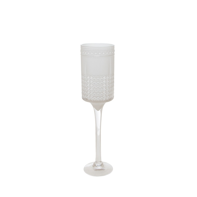 Glass Goblet Fostoria Candle Holder White (12x50cmH)