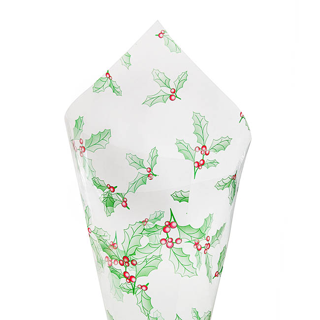 Cello Clear Christmas Holly 40mic 50x70cm 100sheets