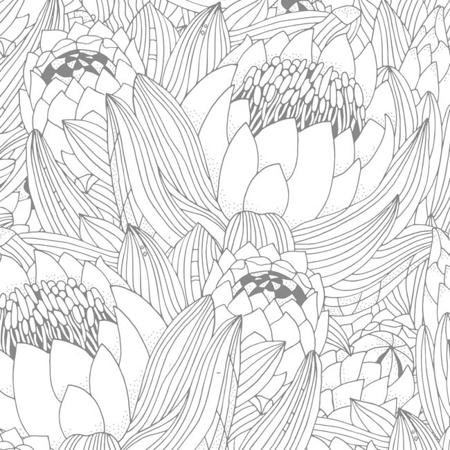 Cello Pattern - Cello Frosted Protea Bunch 40mic Grey (50x70cm) Pack 100
