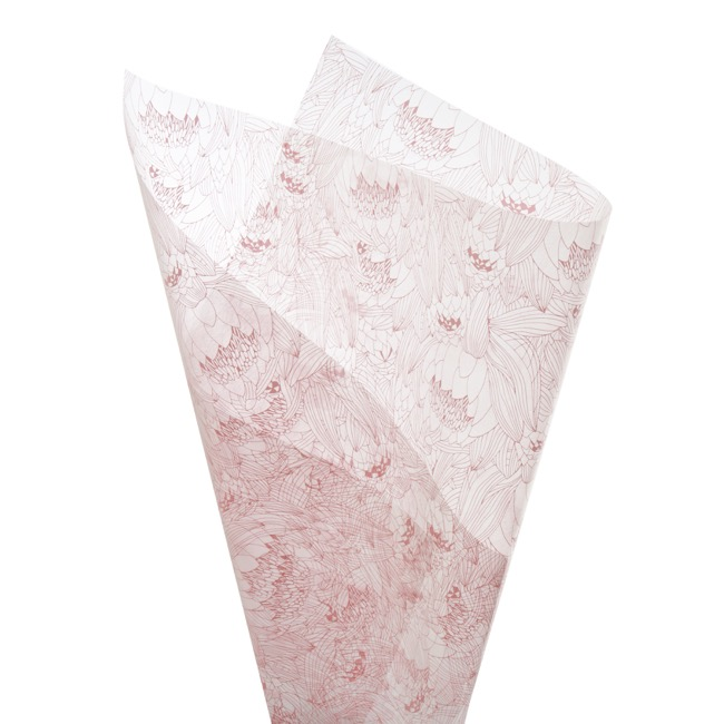 Cello Pattern - Cello Frosted Protea Bunch 40mic Pink (50x70cm) Pack 100