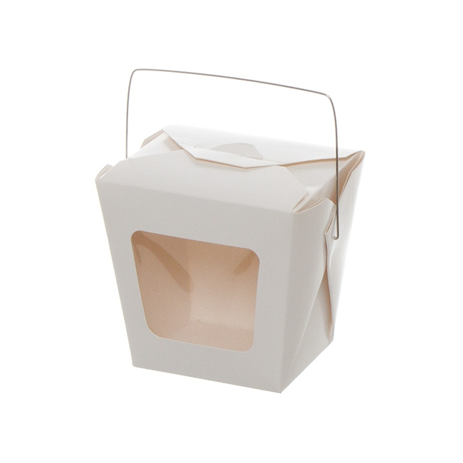 Patisserie & Cake Boxes - Food Pail With Window Wire Handle 26oz White (79x66x103mmH)