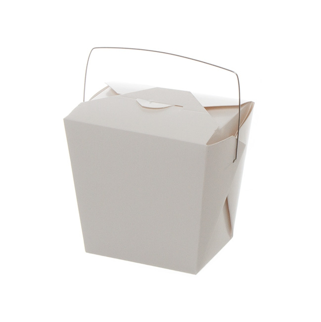 Patisserie & Cake Boxes - Food Pail With Wire Handle 32oz White (89x69x110mmH)