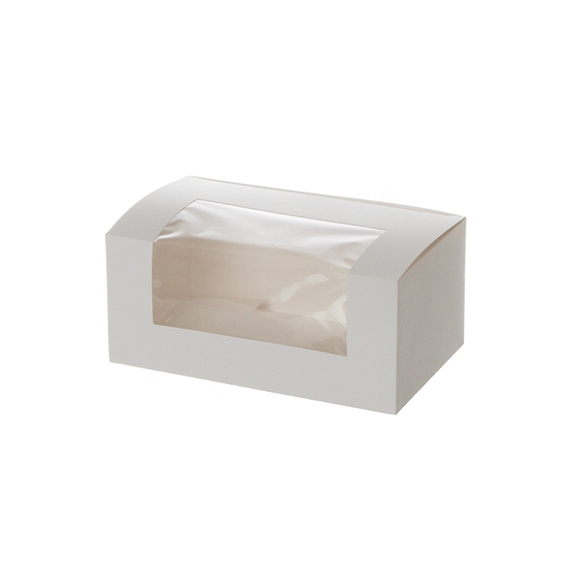 Patisserie & Cake Boxes - Patisserie Window Box Double Cupcakes White (180x110x80mmH)