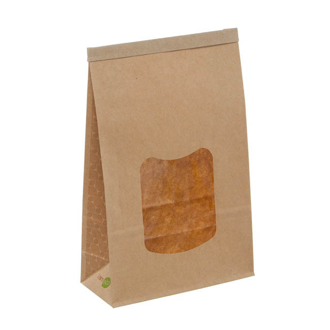 Party & Food Bags - Tin Tie Window Bag Large Natural Kraft (155x70x242mmH)